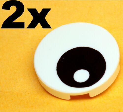 Eye Black w// Pupil White x 2 Round 2x2 NEW LEGO Tiles Decorated