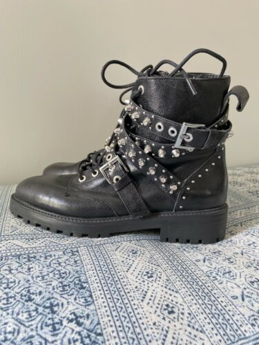 Zara Basic Black Stone/studded Leather Booties Bik