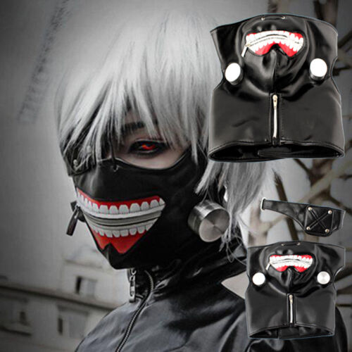 Anime Tokyo Ghoul Cosplay Kaneki Ken Prop Zipper PU Adjustable Halloween Mask UK