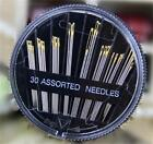 30PCS Assorted Hand Sewing Needles Embroidery Mending Craft Quilt Sew Case UK