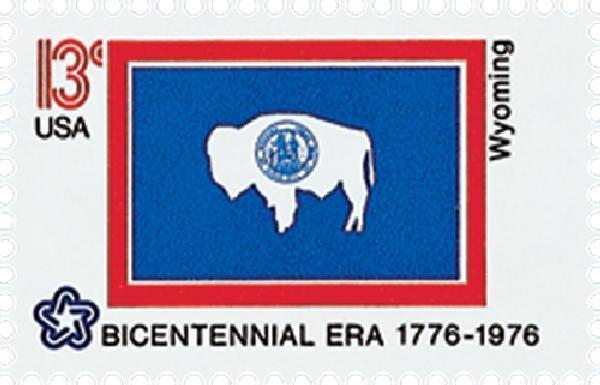 1976 13c Wyoming State Flag, Bicentennial Era Scott 167