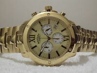 Rotary Men's Chronograph Gb02839/03 Gold Plated Swiss Bracelet Watch Rrp£299