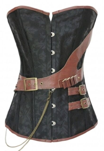 BLACK BROWN CORSET FAUX PVC LEATHER FETISH CLASP DRESS BONDAGE SIZE S M L XXL