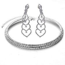 Diamante Shiny Silver White Rhinestones Necklace Choker Set Drop Earrings S787