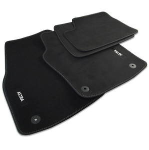 VAUXHALL ASTRA H VELOUR FLOOR CARPET MATS BLACK WITH STITCHED EDGES GENUINE