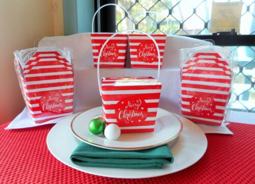SET OF 12 RED /& WHITE STRIPED MARRY CHRISTMAS LOLLY,CANDY,CAKE BOXES