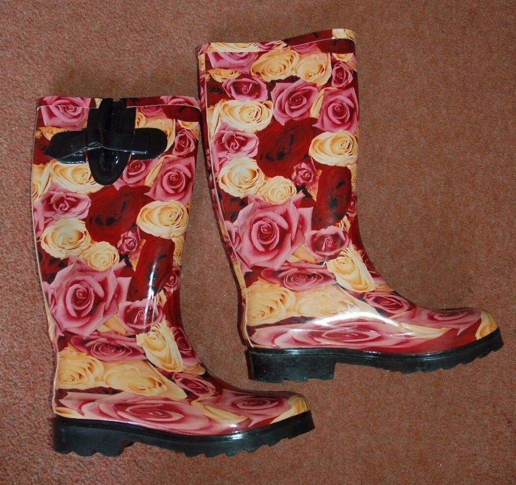 New 6 Rose Welly Welly Rose Wellies Wellington Stiefel Ridged non-slip Soles Pink Festivel d57879