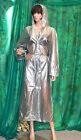 lady's transparent silver pvc vinyl raincoat hooded mackintosh tv mistress XXL