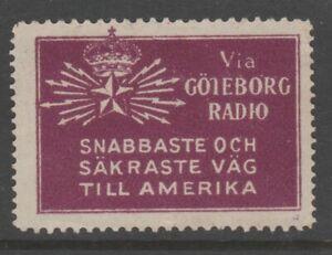 Sweden-America-Telegraph-seal-label-Cinderella-stamp-7-9-19-scarce-item-no-gum