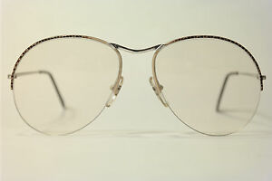 Vintage-Skaga-Lilo-58-16-135-Braun-Beige-Silber-halbrand-Brillengestell-NOS