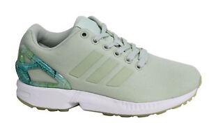 sports shoes 169ec c5e22 La imagen se está cargando Adidas-ZX-FLUX -cordones-verde-Claro-Sintetico-Textil-