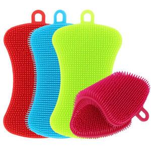 Set 4 Silicone Dish Washing Cleaning Brush Sponge Kitchen Cleaner Pad Scrubber J