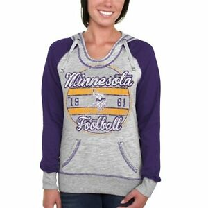 reputable site 82c29 eab1f Details about Minnesota Vikings WOMENS Sweatshirt Pullover Hoodie Gray by  Majestic Athletic