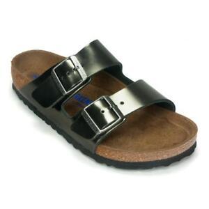 b9501aabdec Birkenstock Women s Arizona Soft Footbed Sandal Metallic Anthracite Size 38