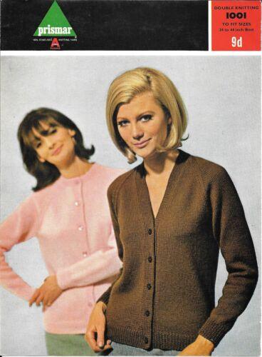 "Prismar 1001 Vintage Knitting Pattern Ladies Cardigans 34-44/"" DK V//Round neck"