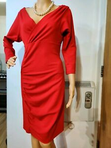 NEW-DIANE-VON-FURSTENBERG-FITTED-RUCHED-DRESS-SIZE-8-UK-8-US-4-APPROXIMATEL-RED