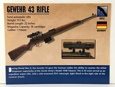 GEWEHR 43 RIFLE 7.92mm Firearms ATLAS PHOTO SPEC HISTORY CARD