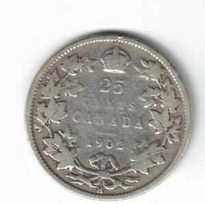 CANADA-1902H-25-CENTS-QUARTER-KING-EDWARD-VII-CANADIAN-STERLING-SILVER-COIN
