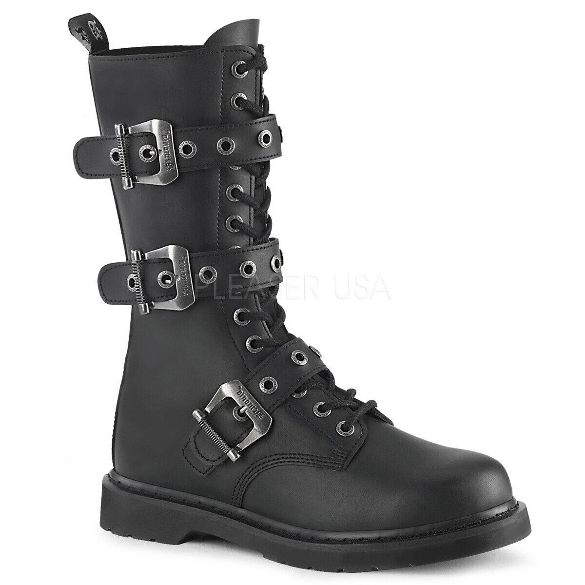 DEMONIA Mens Punk Goth Military Biker Combat Lace Up Buckles Black Calf Boots