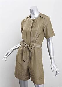 MARC BY MARC JACOBS Womens Olive Silk Linen Short-Sleeve Belted Cargo Romper 0