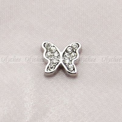 Floating Charm Crystal Butterfly for Glass Living Memory Lockets Free Shipping