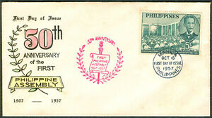 1957-50TH-ANNIVERSARY-OF-PHILIPPINE-ASSEMBLY-First-Day-Cover-A