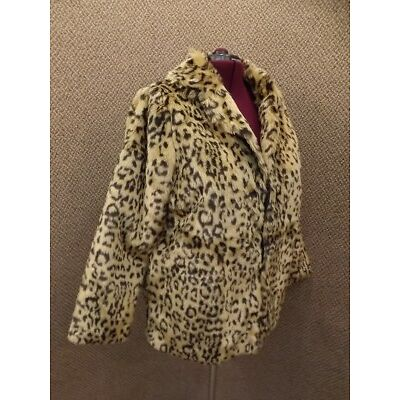 NEW Plush Leopard Animal Print Faux Fur Liteweight Jacket Womens XL Short Length