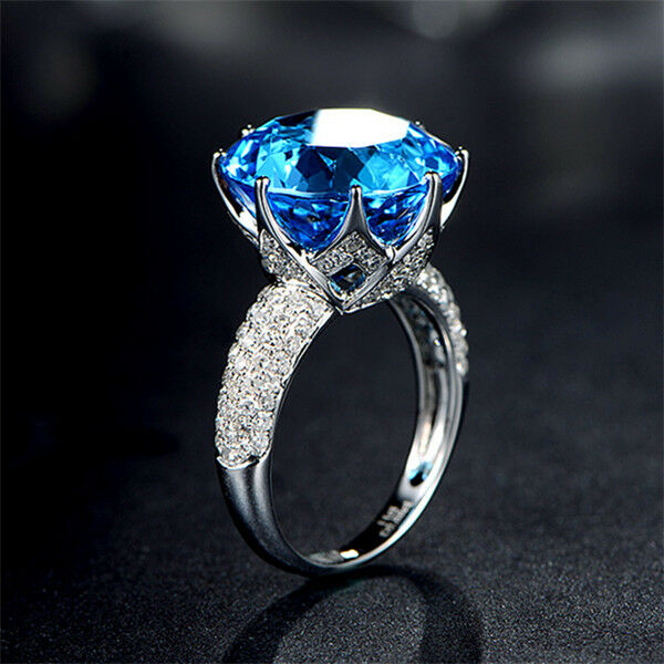13.71ct Solid 14K White gold 100% Natural Swiss Topaz Diamond Fine Ring Jewelry