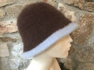 2d8ddf7653b6c Shihreen Women s Crushable COCOA BROWN   BABY BLUE Angora Bucket Hat ...