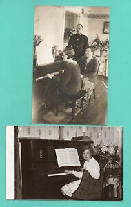 Lettonia-Lotto-di-4-Vintage-Foto-Cartolina-People-Giocare-il-Pianoforte-397