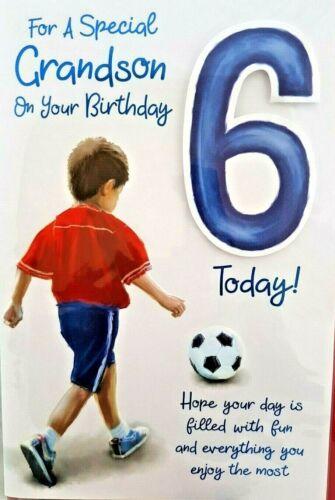 GRANDSON 6th BIRTHDAY CARD AGE 6 ~ FOOTBALL DESIGN QUALITY CARD /& LOVELY VERSE