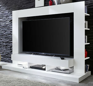 Wall unit white gloss medienwand tv television wardrobe - Led fernsehwand ...