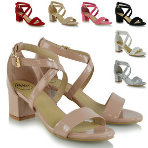 Womens-Strappy-Sandals-Low-Mid-Heel-Block-Ladies-Peep-Toe-Party-Prom-Shoes-Size