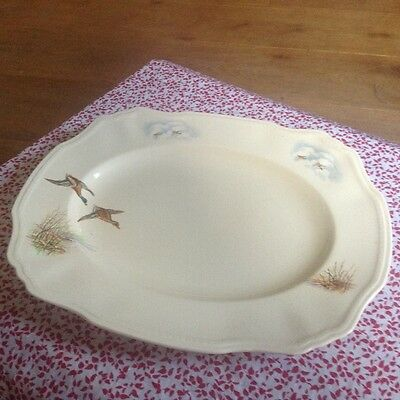 "Meat Platter/1950s Active Alfred Meakin ""wildfowl"" China/british 14"""
