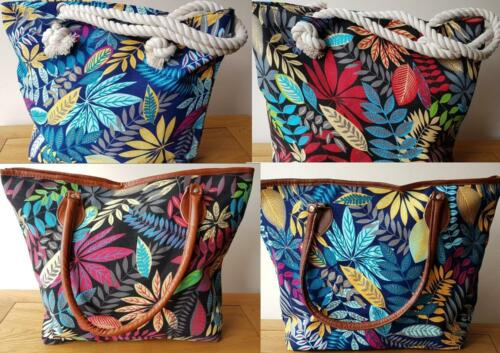 Womens Tote Shopper Tropical Floral Canvas Faux Leather Trim Ideal Work Holidays