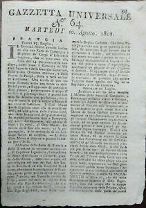 1802-GAZZETTA-UNIVERSALE-ANARCHIA-ALBANIA-TURCHIA-VALACCHIA-MURAT-CANADA
