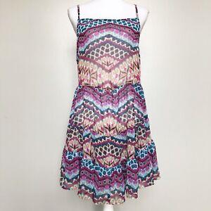 Becca-Womens-Swim-Cover-Up-Dress-Semi-Sheer-Multi-Print-Tiered-Lace-Up-Back-L