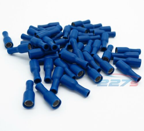 50x Blue Female Bullet Connector Insulated Crimp Terminals for Electrical Wiring