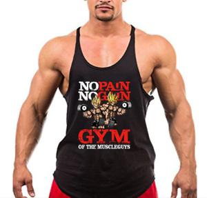 Mens Bodybuilding Dragon Ball Tank Tops No Pain No Gain Shirt Vest Fitness Tee