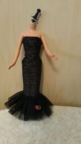 "Barbie doll black strapless dress 1960 reproduction ""solo in the spotlight"""