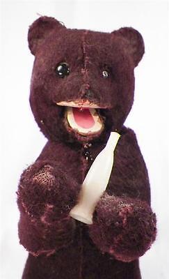 Vintage Bear Drinking Milk Mechanical Toy Windup Key Wound 1 Eye Missing WORKS
