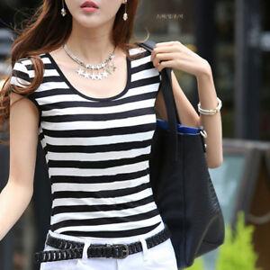 Fashion-Striped-T-Shirt-Female-Short-Sleeved-Blouse-Korean-New-Women-039-s-Tops-BHQ