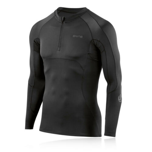 Skins Mens DNAmic Ultimate Long Sleeve Top Black Sports Running Gym Breathable