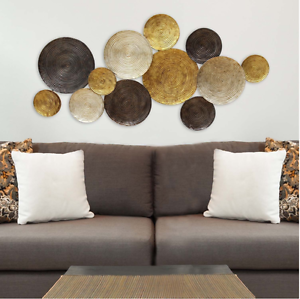 Image is loading Modern-Contemporary-Abstract-Hanging-Metal-Circle-Wall-Art- & Modern Contemporary Abstract Hanging Metal Circle Wall Art Sculpture ...