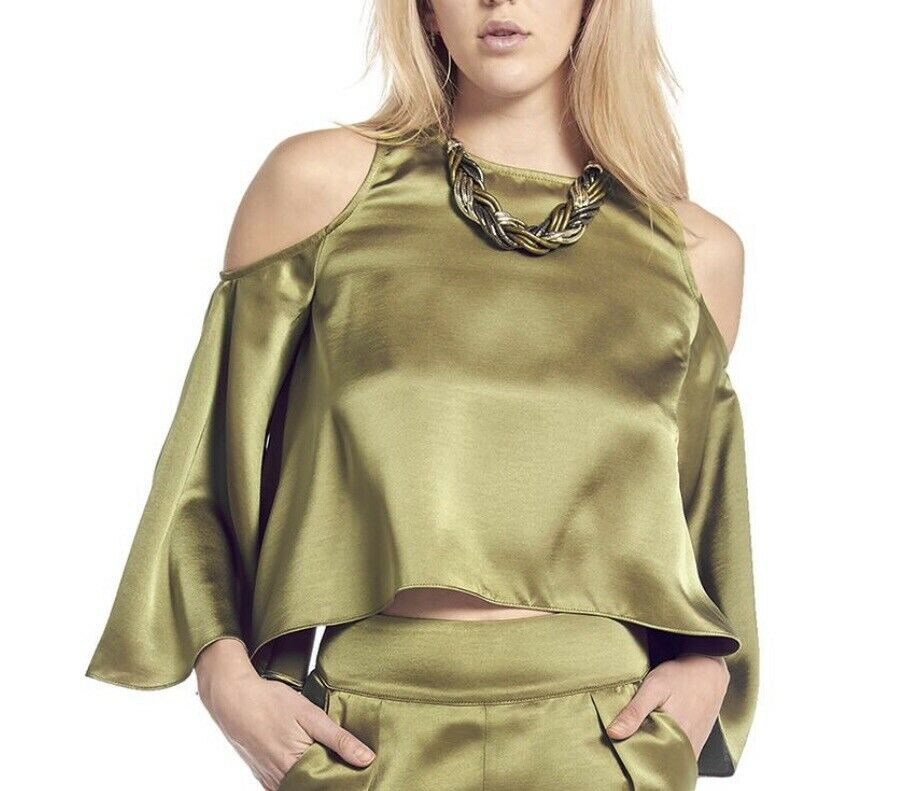 Gracia Off-Shoulder Bell-Line Sleeve Größe L   Olive