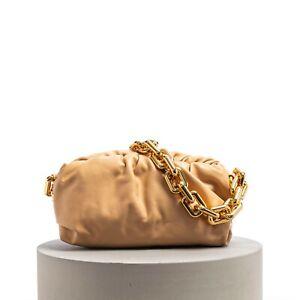 BOTTEGA VENETA 3690$ The Chain Pouch Clutch Bag In Almond Folded Calf Leather