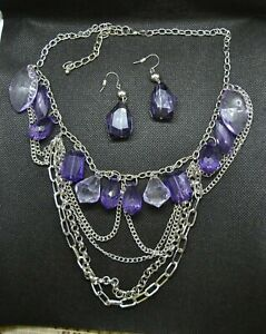 Chain-Necklace-with-Purple-Beads-and-Earrings-Set-item-J24