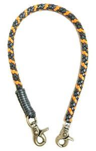 Biker-chain-Black-Orange-braided-leather-Heavy-Duty-Trucker-wallets-made-in-USA