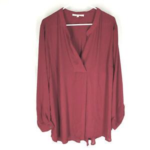 DANIEL-RAINN-Red-Blouse-Plus-Size-3X-Long-Sleeve-Boxey-Flowey-Solid-Womens
