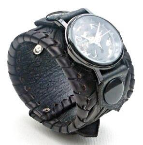 Black-Leather-Dragon-Watch-Wrist-band-Bracelet-Steampunk-Mechanical-Handmade-UK